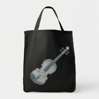 Blue Violin Grocery Tote Bag