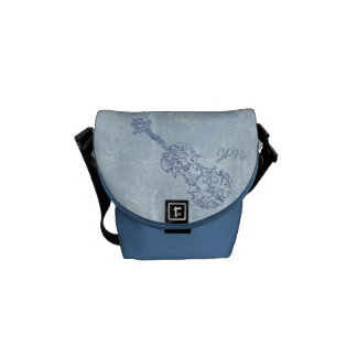 Blue Violin Line Drawing Customizable Courier Bag