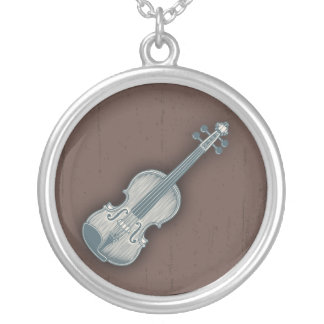 Blue Violin Silver Plated Necklace