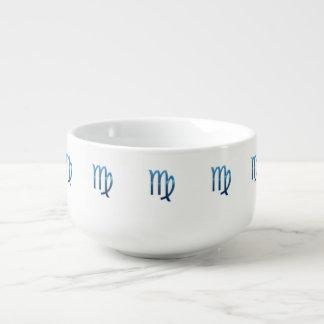 Blue Virgo Zodiac Signs On White Soup Mug