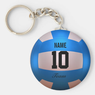 Blue Volleyball Basic Round Button Key Ring