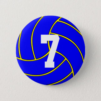Blue Volleyball Custom Color & Jersey Number Pin