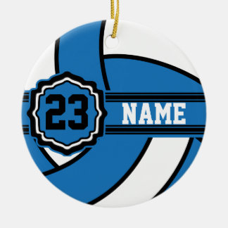 Blue Volleyball | DIY Name and Number Round Ceramic Decoration