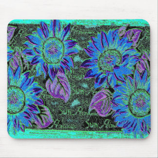 Blue Wacky Sunflower Mouse Pad