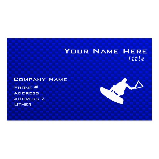 Blue Wakeboarder Business Card Template