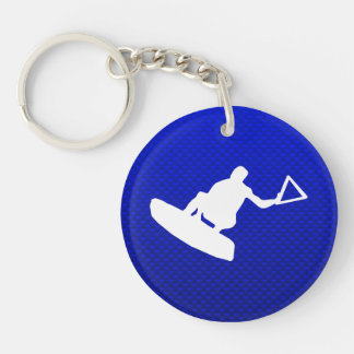 Blue Wakeboarder Double-Sided Round Acrylic Key Ring