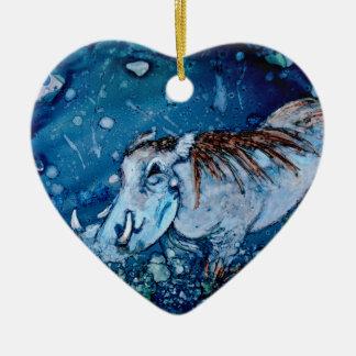 Blue Warthog Ceramic Heart Decoration