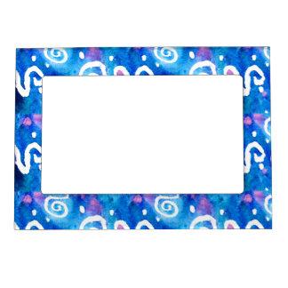 Blue Wash White Swirls Frame Magnet
