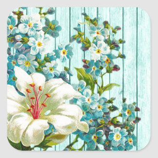 Blue Washed Fence and Blue Flowers Square Sticker