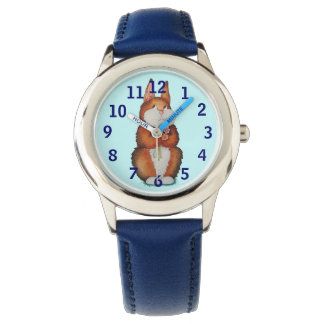 blue watch with cute brown Bunny and flowers