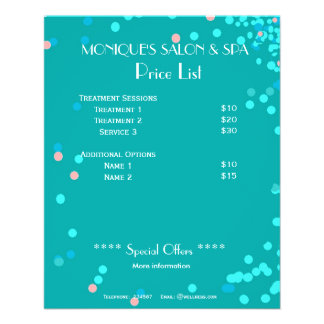 Blue water abstract Spa price list A5 flyer