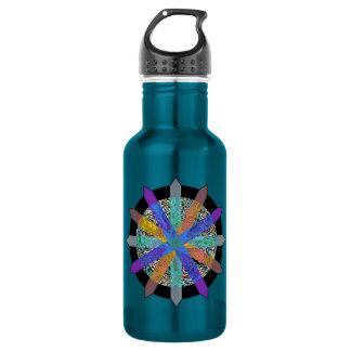 Blue water bottle with modern geometric design 532 ml water bottle
