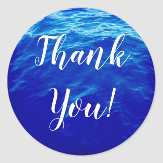 Blue Water Calligraphy Thank You Classic Round Sticker