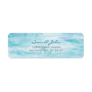 Blue Water Color Return Address Label