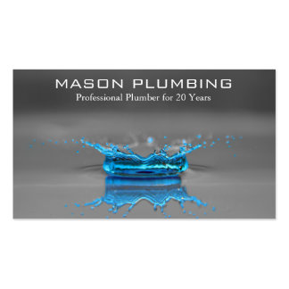 Blue Water Drop Splash - Plumbing - Business Card