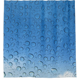 Blue Water Droplets Shower Curtain