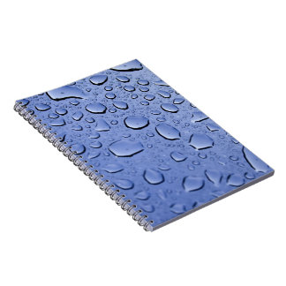 Blue Water Droplets Spiral Note Books