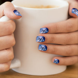 Blue Water Element Asian Script Watercolor Nail Sticker