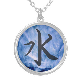 Blue Water Element Asian Script Watercolor Silver Plated Necklace