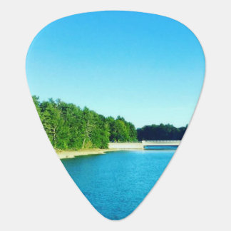 Blue water guitar pick