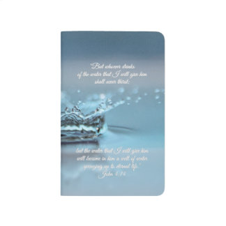 Blue Water Life never thirst Bible Verse John Journal