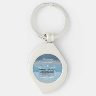 Blue Water Life never thirst Bible Verse John Key Ring