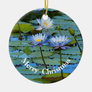 Blue water lilies round Christmas ornament