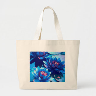Blue Water Lillies Large Tote Bag