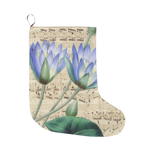 Blue Water Lily Music Large Christmas Stocking