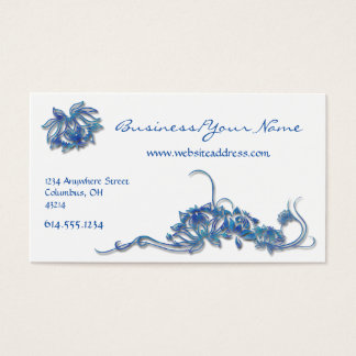 Blue Water Lotus Flowers Asian Business Card