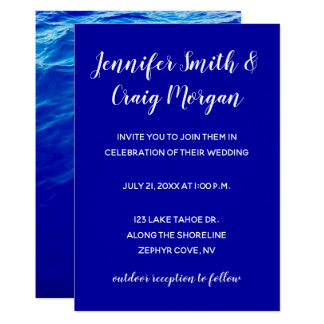 Blue Water Modern Calligraphy Wedding Card