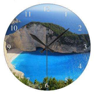 Blue Water Ocean Bay Clock