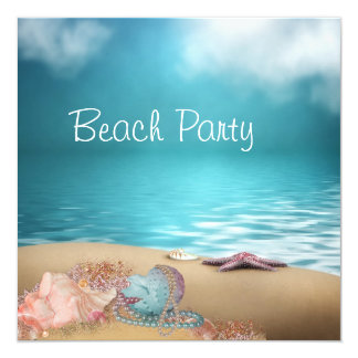 Blue Water Seashells Sand Beach Party 13 Cm X 13 Cm Square Invitation Card