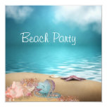 "Blue Water Seashells Sand Beach Party 5.25"" Square Invitation Card"