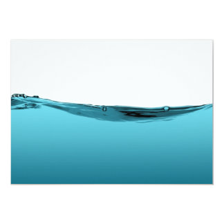 Blue water wave 13 cm x 18 cm invitation card