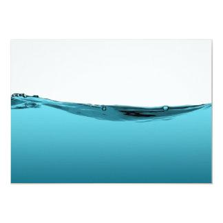 Blue water wave 13 cm x 18 cm invitation card