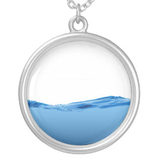 Blue water wave silver plated necklace