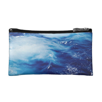 Blue Water Waves in Ocean Makeup Bag