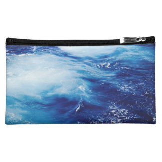 Blue Water Waves in Ocean Makeup Bags