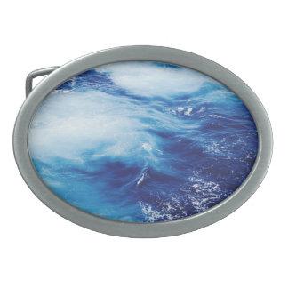 Blue Water Waves in Ocean Oval Belt Buckle