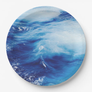 Blue Water Waves in Ocean Paper Plate