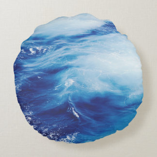 Blue Water Waves in Ocean Round Cushion