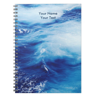 Blue Water Waves in Ocean Spiral Notebook