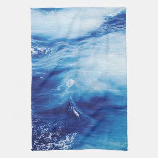 Blue Water Waves in Ocean Tea Towel