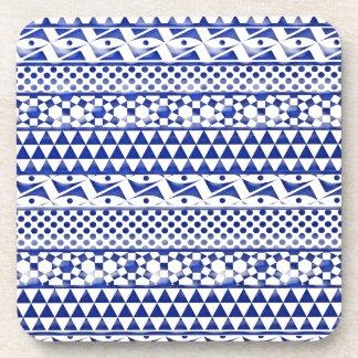 Blue Watercolor Abstract Aztec Tribal Print Pattrn Beverage Coasters