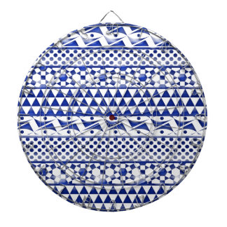Blue Watercolor Abstract Aztec Tribal Print Pattrn Dart Boards