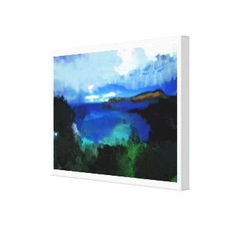 blue watercolor abstract landscape stretched canvas prints