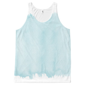 Blue Watercolor All-Over Print Tank Top