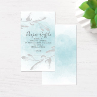 Blue Watercolor Baby Shower Diaper Raffle Ticket