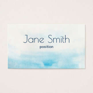 Blue watercolor background with sample text business card